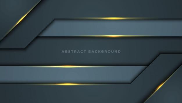 Fundo abstrato escuro com camadas pretas da sobreposição. textura com decoração de elementos de efeito dourado. Vetor Premium