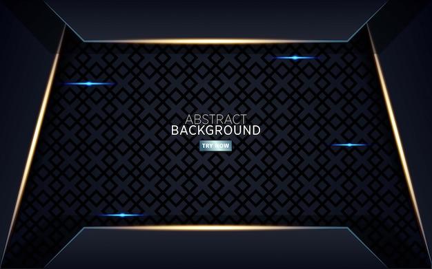 Fundo abstrato escuro moderno com linha dourada Vetor Premium