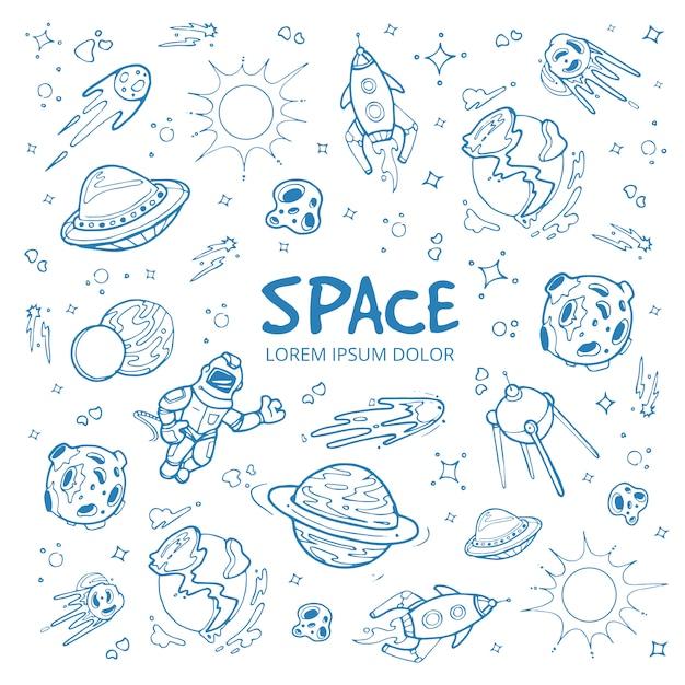 Fundo abstrato espaço com planetas, estrelas, naves espaciais e objetos do universo. Vetor Premium