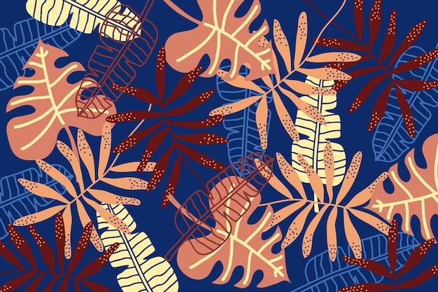 Fundo abstrato folhas tropicais Vetor grátis