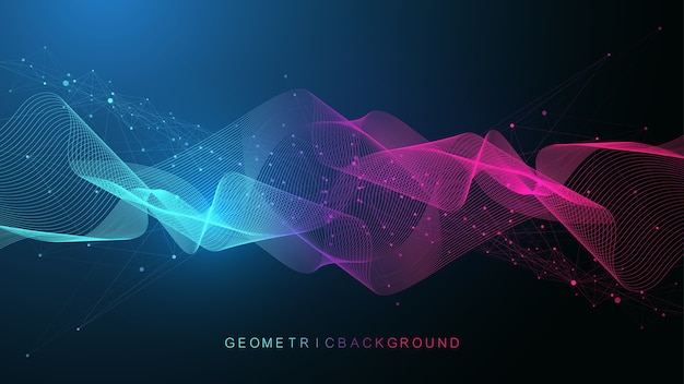 Fundo abstrato geométrico com linhas e pontos conectados. ponto de fluxo de conectividade. Vetor Premium