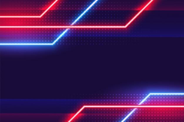 Fundo abstrato geométrico de linhas brilhantes de néon Vetor grátis