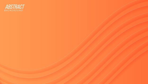 Fundo abstrato gradiente laranja pêssego moderno com ondas Vetor Premium