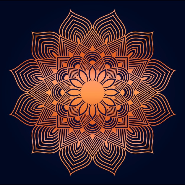 Fundo abstrato moderno mandala com estilo oriental árabe islâmico de arabesco dourado Vetor Premium