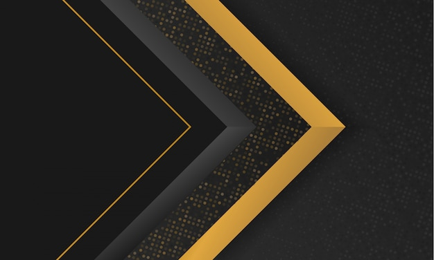 Fundo abstrato moderno preto e dourado forma geométrica de luxo Vetor Premium