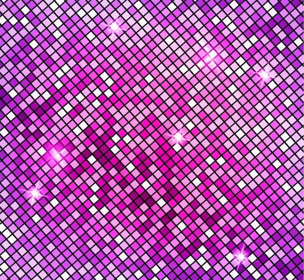Fundo abstrato mosaico rosa brilhante. mosaico brilhante no estilo bola de discoteca. fundo prateado luzes de discoteca. fundo abstrato Vetor Premium