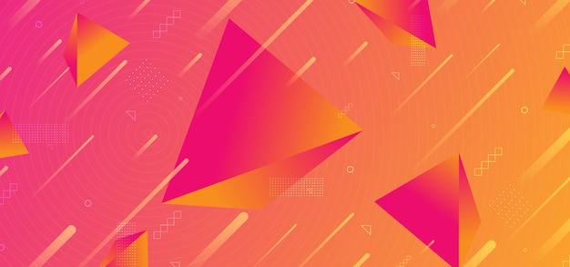 Fundo abstrato na moda 3d gradiente cores da pirâmide Vetor Premium