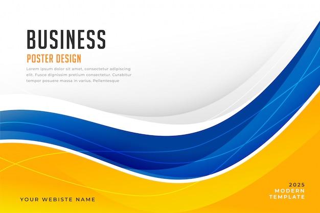 Fundo abstrato onda azul e amarelo brilhante Vetor grátis