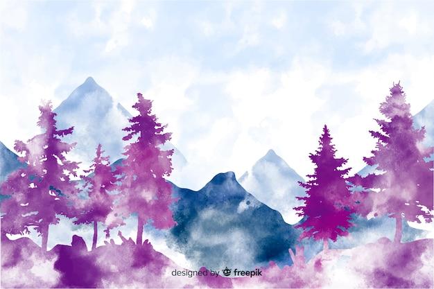 Fundo abstrato paisagem aquarela Vetor grátis
