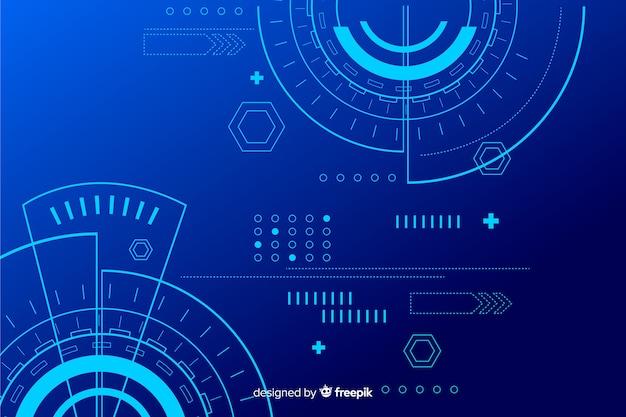 Fundo abstrato tecnologia azul hud Vetor grátis