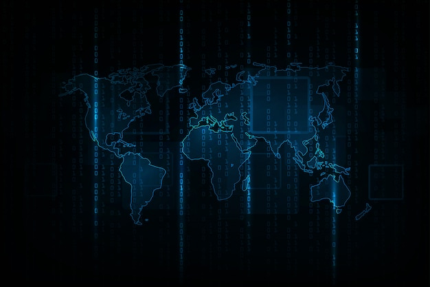 Fundo abstrato tecnologia. conceito de hacker, programação de codificação, código binário de computador. Vetor Premium