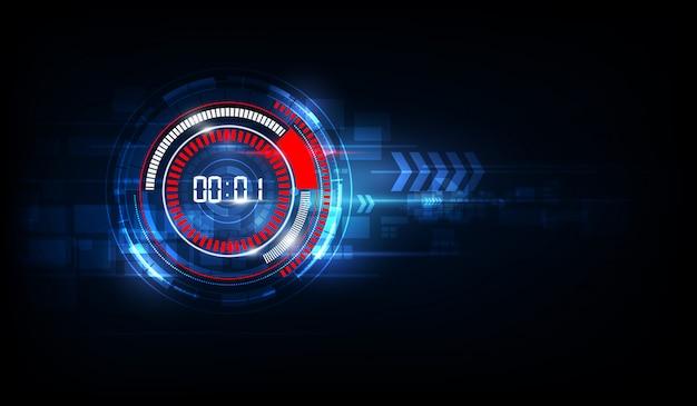 Fundo abstrato tecnologia futurista com conceito de temporizador número digital e contagem regressiva, vector transparente Vetor Premium