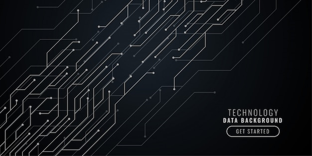 Fundo abstrato tecnologia preto com linhas de circuito Vetor grátis