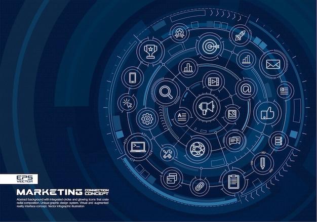 Fundo abstrato tecnologia. sistema de conexão digital com círculos integrados, ícones brilhantes de linhas finas. conceito de interface de realidade virtual e aumentada. futura ilustração infográfico Vetor Premium