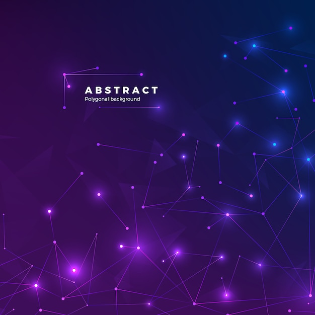 Fundo abstrato tecnológico. partículas, pontos e conectados por linhas. textura baixa poligonal. ilustração de fundo azul e roxo Vetor Premium