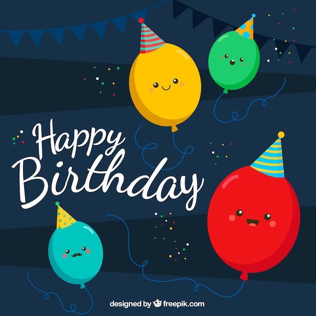 Fundo, agradável, aniversário, balões Vetor grátis