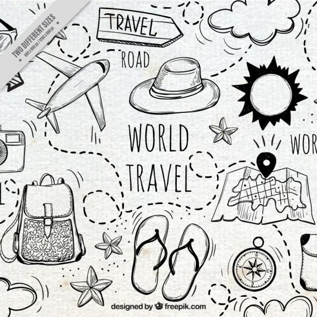 Travelling From Nice To Toulouse Roadtrip: Fundo Agradável Com Elementos De Viagem Desenhados à Mão
