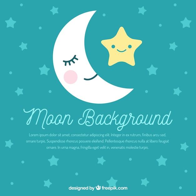 Fundo agradável da lua e das estrelas Vetor grátis