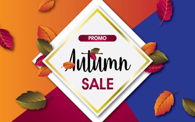 Fundo alaranjado, vermelho e azul da venda do outono com as folhas para a venda ou o promo de compra. Vetor Premium
