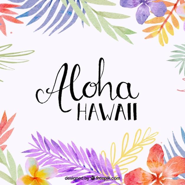 Fundo Aloha com folhas de aquarela Vetor grátis
