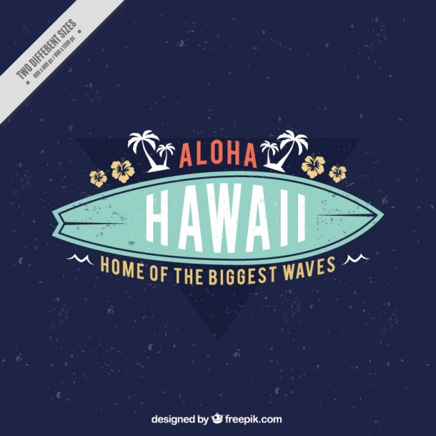 Fundo aloha com sufboard Vetor Premium