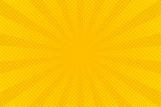 Fundo amarelo abstrato com zoom em quadrinhos de meio-tom Vetor Premium