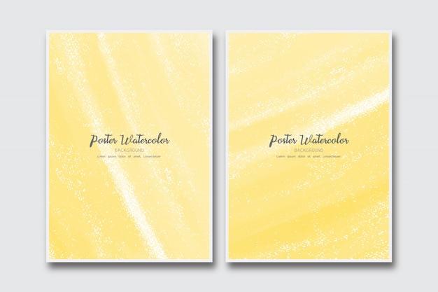 Fundo amarelo aquarela Vetor Premium