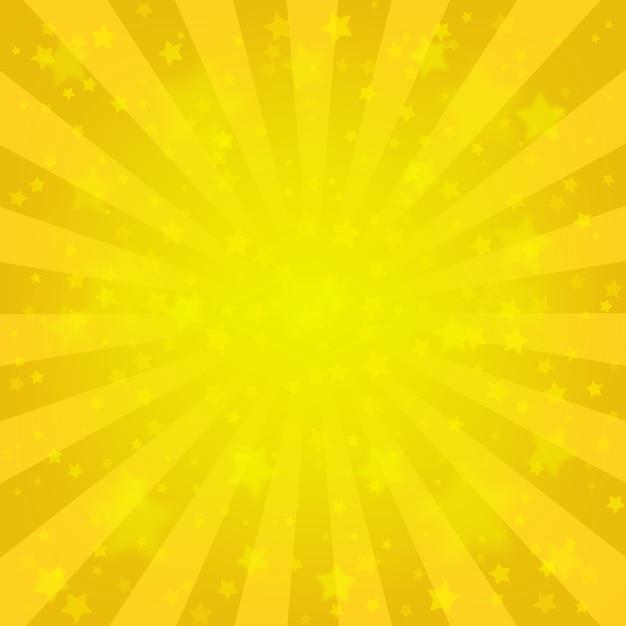 Fundo amarelo brilhante dos raios, lote das estrelas. estilo cômico sunburst Vetor Premium