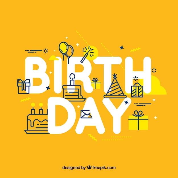 Fundo amarelo com elementos lineares de aniversário Vetor grátis