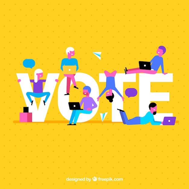 Fundo amarelo com palavra de voto Vetor grátis