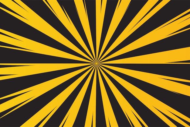 Fundo amarelo e preto dos raios para o aviso do perigo. Vetor Premium