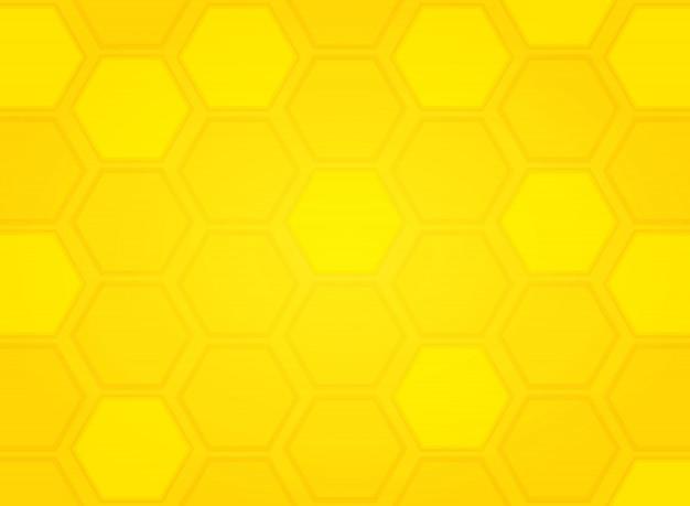 Fundo amarelo moderno abstrato do hexágono do teste padrão da colmeia da abelha. ilustração vetorial eps10 Vetor Premium