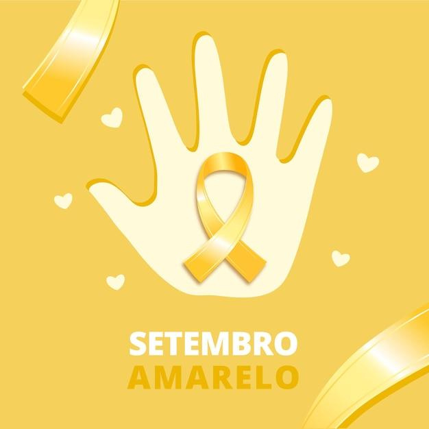 Fundo amarelo setembro com mão Vetor grátis