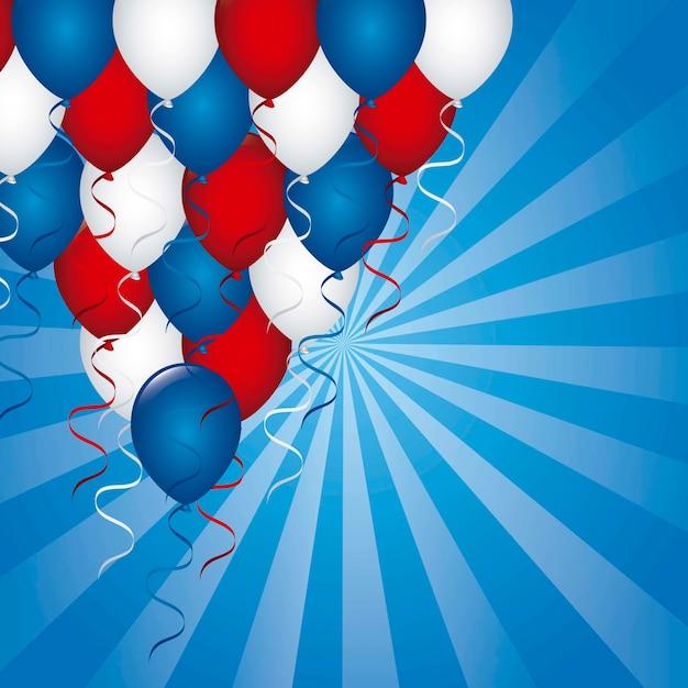 Fundo americano com ilustração vetorial de balões Vetor Premium