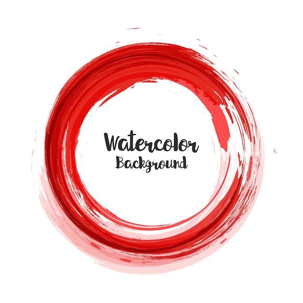 Fundo aquarela abstrata no círculo vermelho Vetor Premium