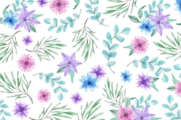 Fundo aquarela com flores azuis e violetas Vetor grátis