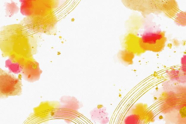 Fundo aquarela com folha dourada Vetor grátis