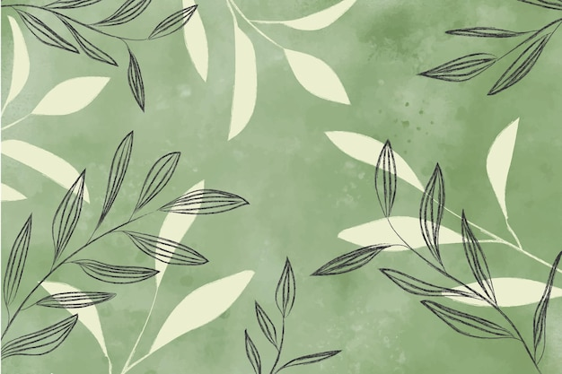 Fundo aquarela com folhas Vetor grátis