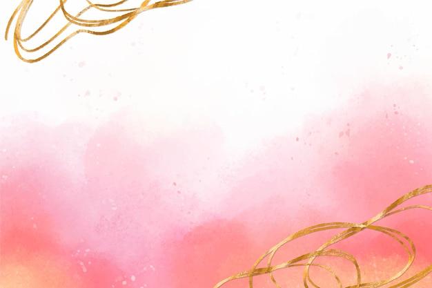 Fundo aquarela com zoom de folha dourada Vetor grátis