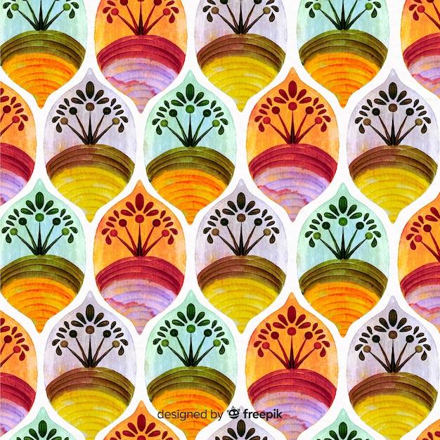 Fundo aquarela de mosaico Vetor grátis