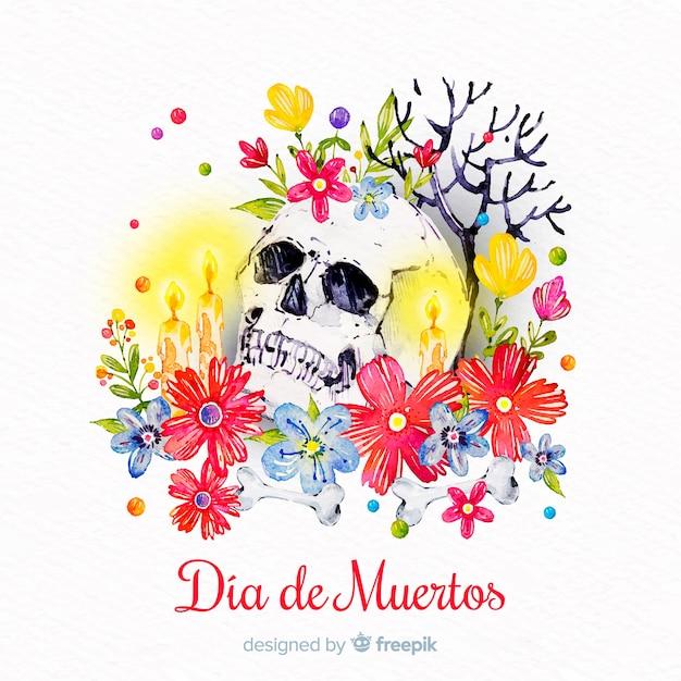 Fundo aquarela dia de muertos Vetor grátis