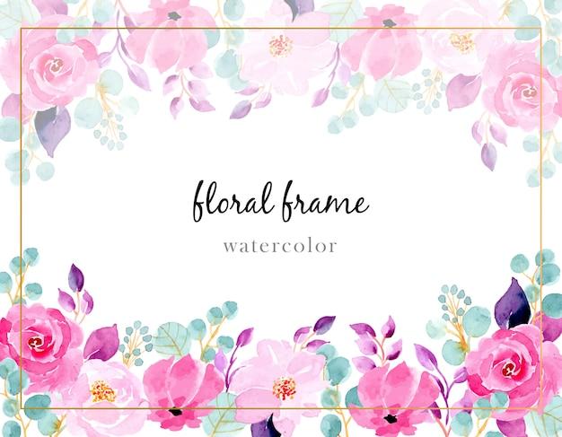 Fundo aquarela flor rosa Vetor Premium