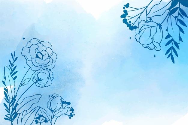 Fundo aquarela floral com elementos desenhados à mão Vetor grátis