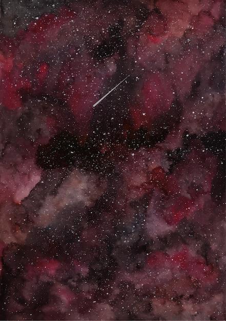 Fundo aquarela galáxia preta vermelha Vetor Premium
