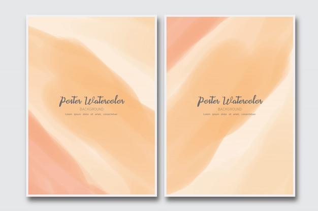 Fundo aquarela pastel laranja escuro Vetor Premium