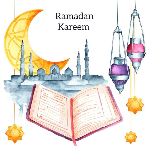 Fundo aquarela ramadan kareem Vetor grátis