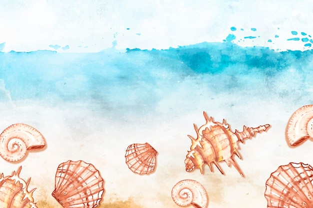 Fundo aquarela verão com conchas Vetor grátis