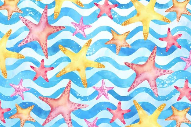 Fundo aquarela verão com estrela do mar Vetor grátis
