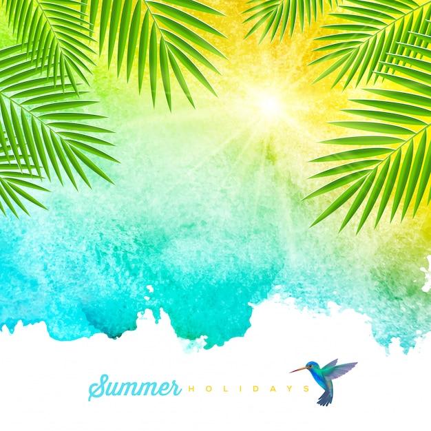 Fundo aquarela verão tropical com galhos de árvores de palma e beija-flor - ilustração Vetor Premium