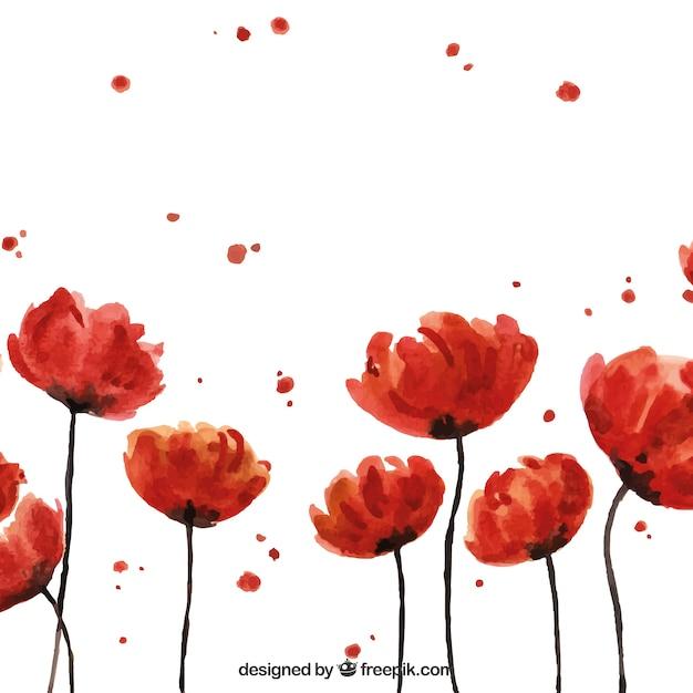 Fundo artístico com flores de aguarela Vetor grátis
